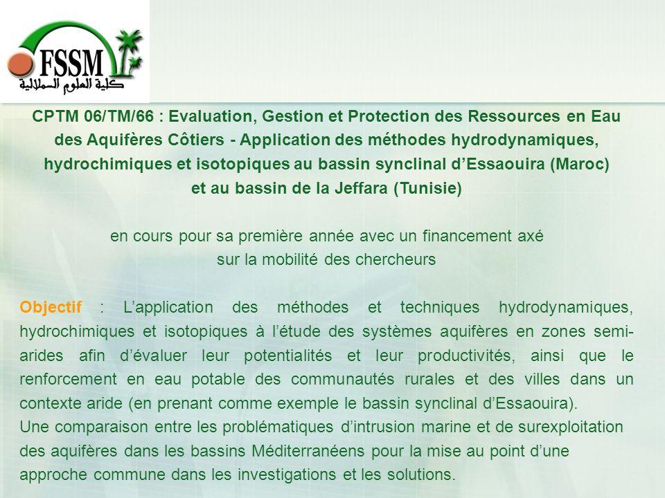 CPTM 06/TM/66 : Evaluation, Gestion et Protection des Ressources en Eau des Aquifères Côtiers - Application des méthodes hydrodynamiques, hydrochimiqu