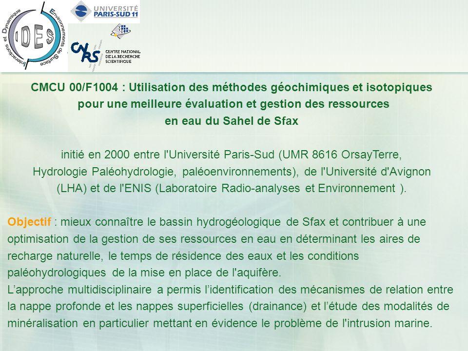 CMCU 00/F1004 : Utilisation des méthodes géochimiques et isotopiques pour une meilleure évaluation et gestion des ressources en eau du Sahel de Sfax i