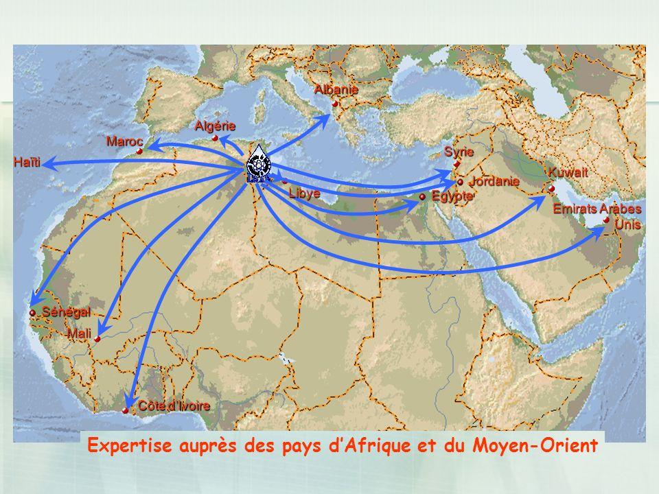 Albanie Algérie Maroc Haïti Mali Côte dIvoire Syrie Kuwait Emirats Arabes Unis Expertise auprès des pays dAfrique et du Moyen-Orient Egypte Jordanie L
