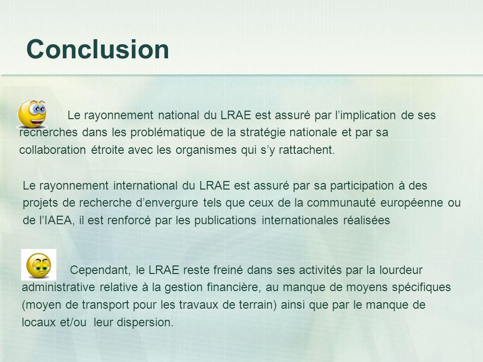 Conclusion Le rayonnement national du LRAE est assuré par limplication de ses recherches dans les problématique de la stratégie nationale et par sa co