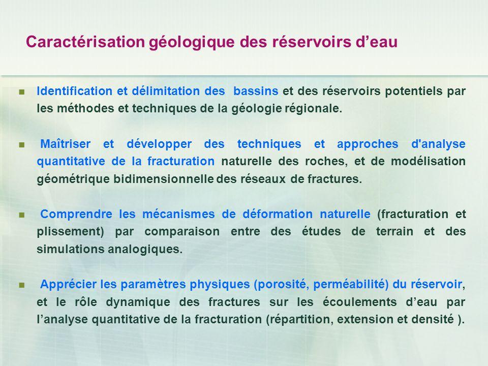 Caractérisation géologique des réservoirs deau Identification et délimitation des bassins et des réservoirs potentiels par les méthodes et techniques