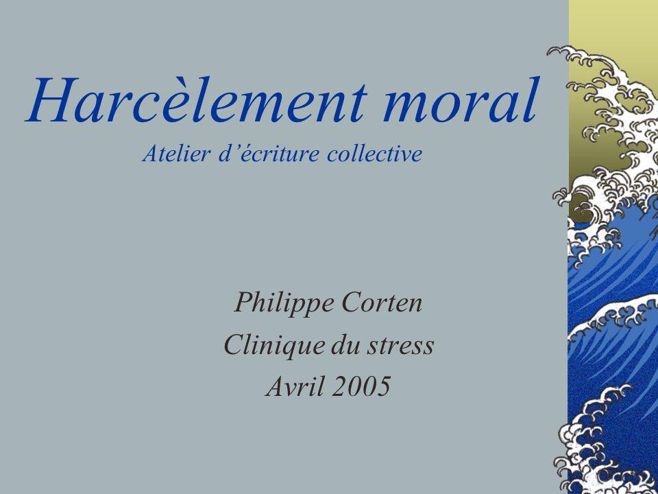 Harcèlement moral Atelier décriture collective Philippe Corten Clinique du stress Avril 2005