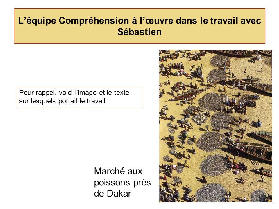 Léquipe Compréhension à lœuvre dans le travail avec Sébastien Marché aux poissons près de Dakar Pour rappel, voici limage et le texte sur lesquels por