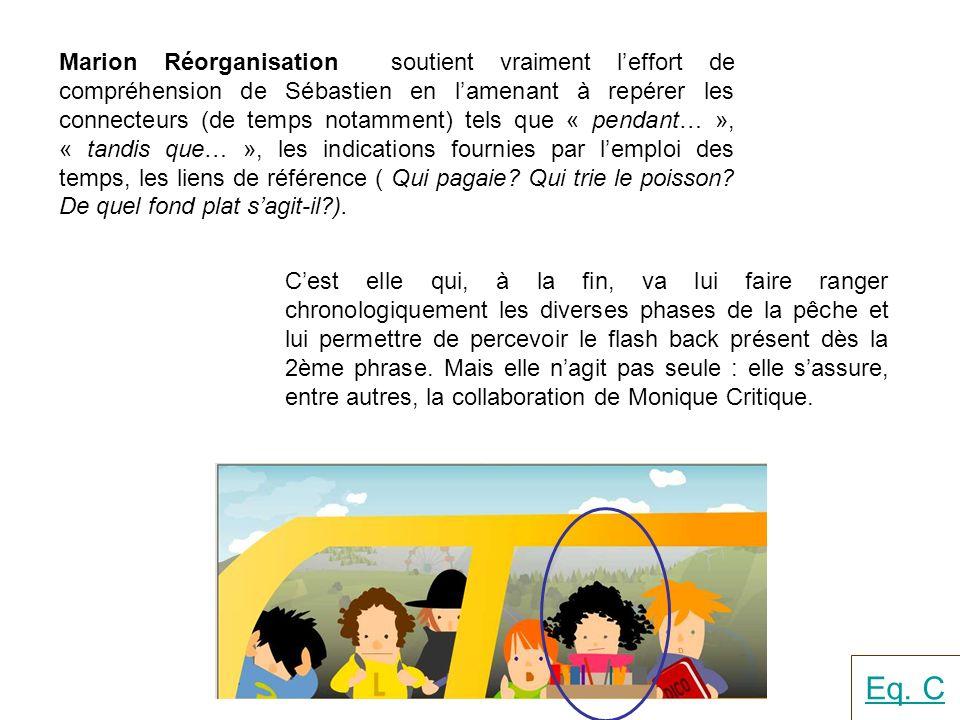 Marion Réorganisation soutient vraiment leffort de compréhension de Sébastien en lamenant à repérer les connecteurs (de temps notamment) tels que « pe