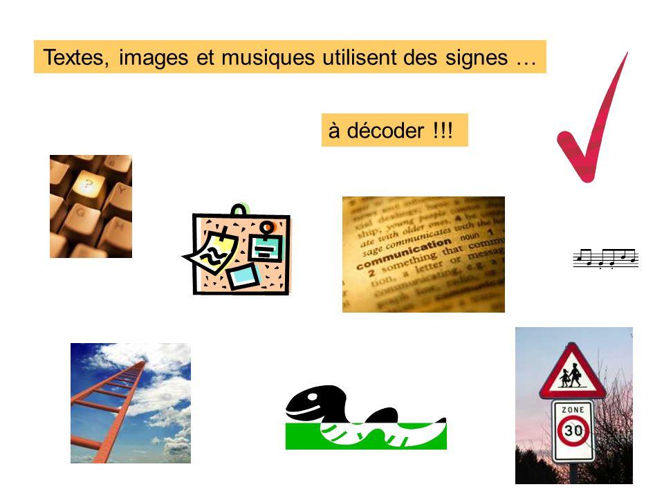 Textes, images et musiques utilisent des signes … à décoder !!!