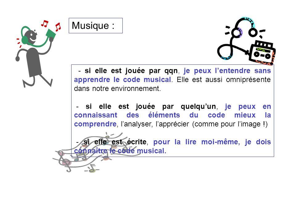 - si elle est jouée par qqn, je peux lentendre sans apprendre le code musical. Elle est aussi omniprésente dans notre environnement. - si elle est jou
