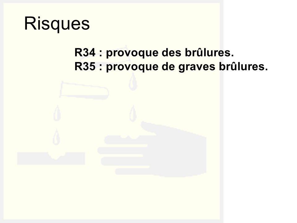 R34 : provoque des brûlures. R35 : provoque de graves brûlures.