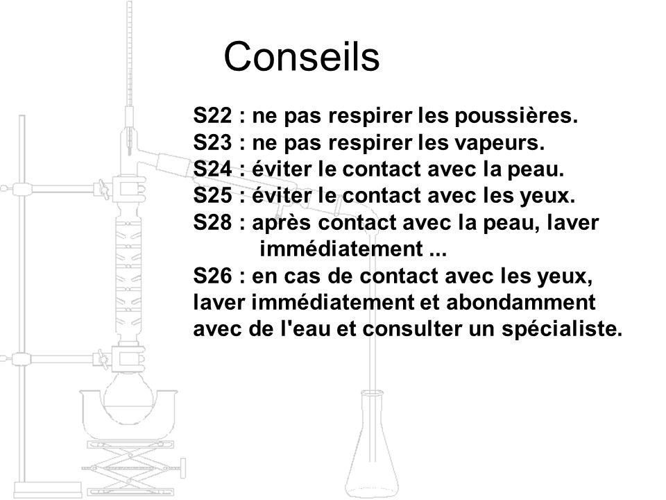 Conseils S22 : ne pas respirer les poussières. S23 : ne pas respirer les vapeurs. S24 : éviter le contact avec la peau. S25 : éviter le contact avec l