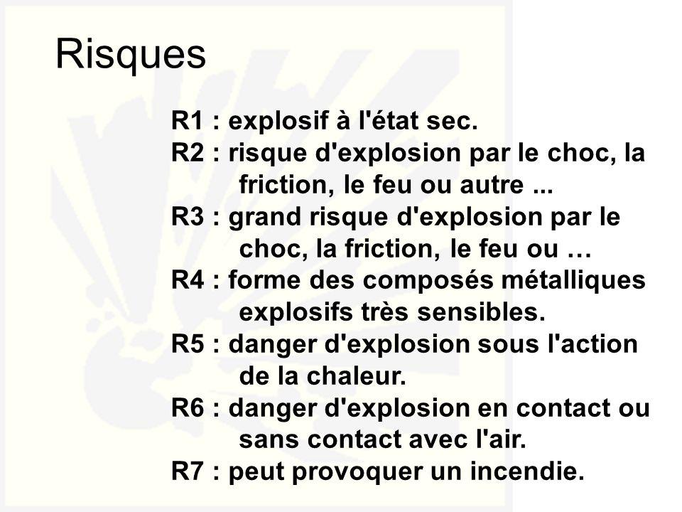 R1 : explosif à l'état sec. R2 : risque d'explosion par le choc, la friction, le feu ou autre... R3 : grand risque d'explosion par le choc, la frictio