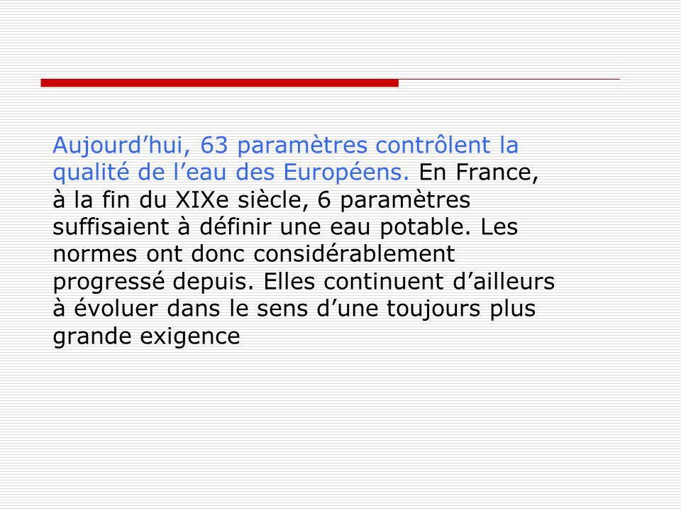 Aujourdhui, 63 paramètres contrôlent la qualité de leau des Européens. En France, à la fin du XIXe siècle, 6 paramètres suffisaient à définir une eau