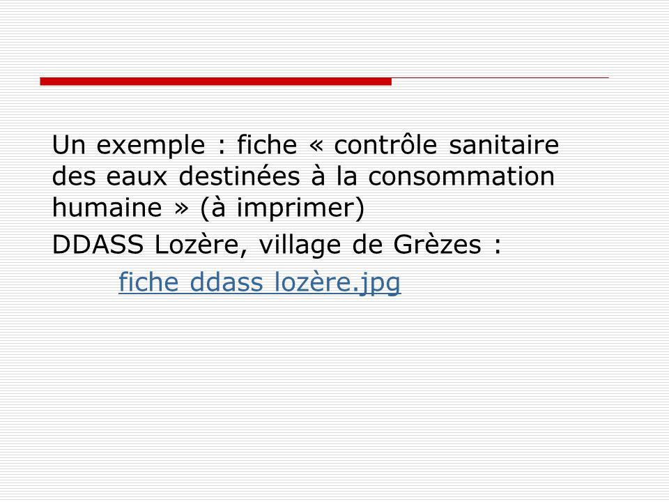 Un exemple : fiche « contrôle sanitaire des eaux destinées à la consommation humaine » (à imprimer) DDASS Lozère, village de Grèzes : fiche ddass lozè