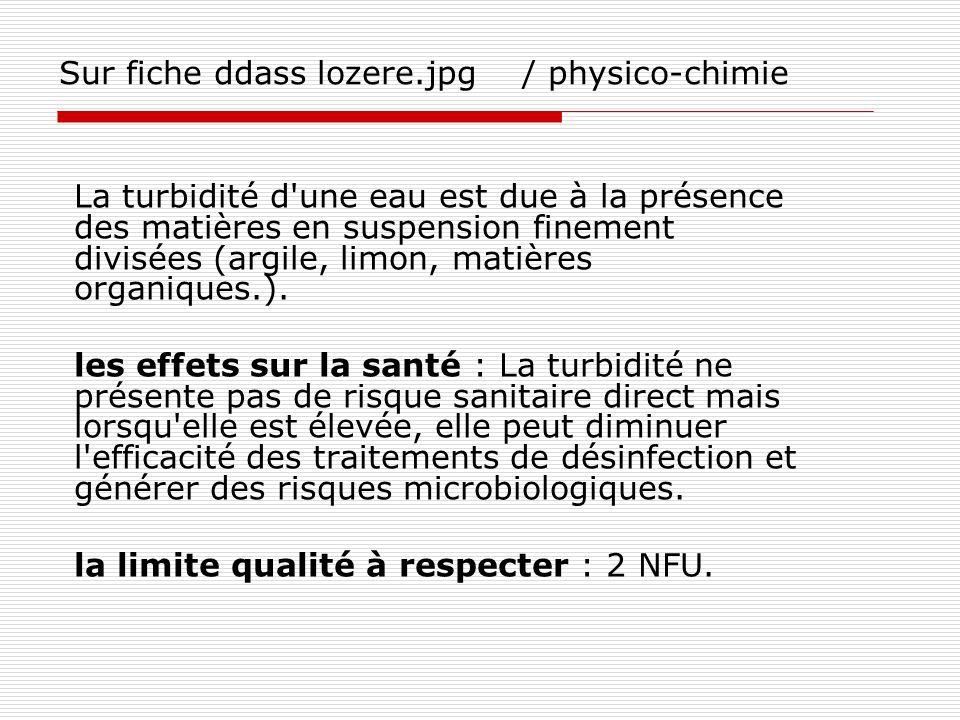 Sur fiche ddass lozere.jpg / physico-chimie La turbidité d'une eau est due à la présence des matières en suspension finement divisées (argile, limon,