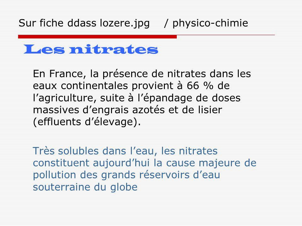 Sur fiche ddass lozere.jpg / physico-chimie En France, la présence de nitrates dans les eaux continentales provient à 66 % de lagriculture, suite à lé