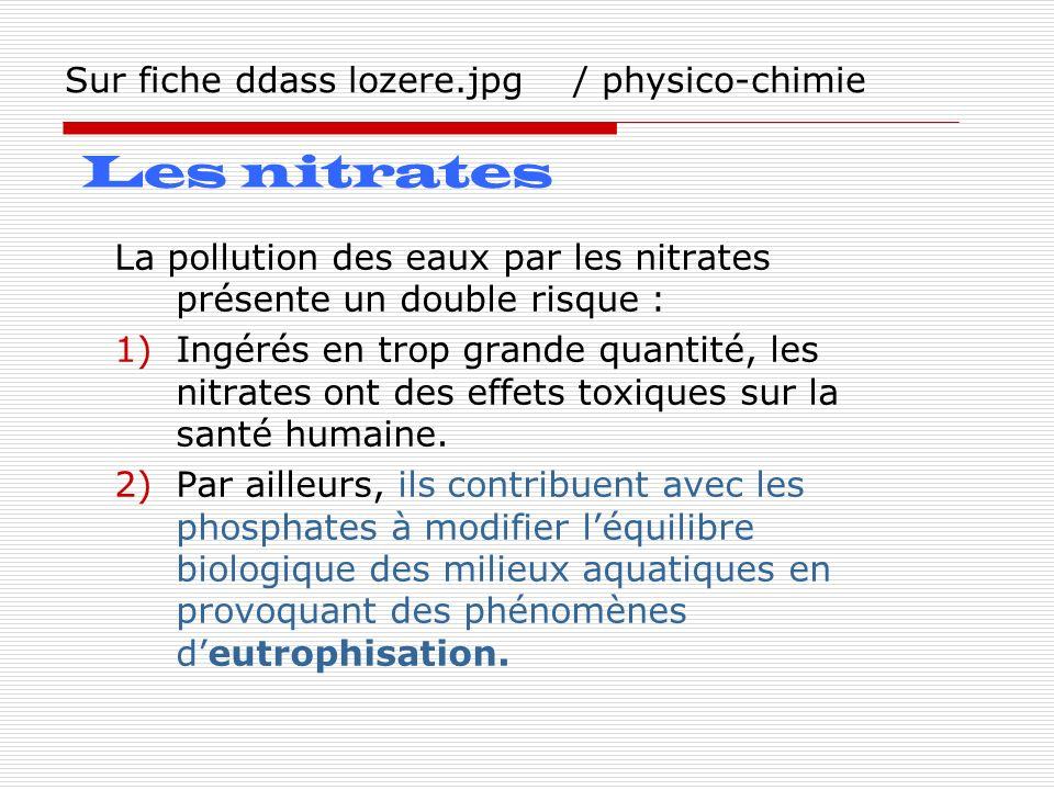 Sur fiche ddass lozere.jpg / physico-chimie La pollution des eaux par les nitrates présente un double risque : 1)Ingérés en trop grande quantité, les