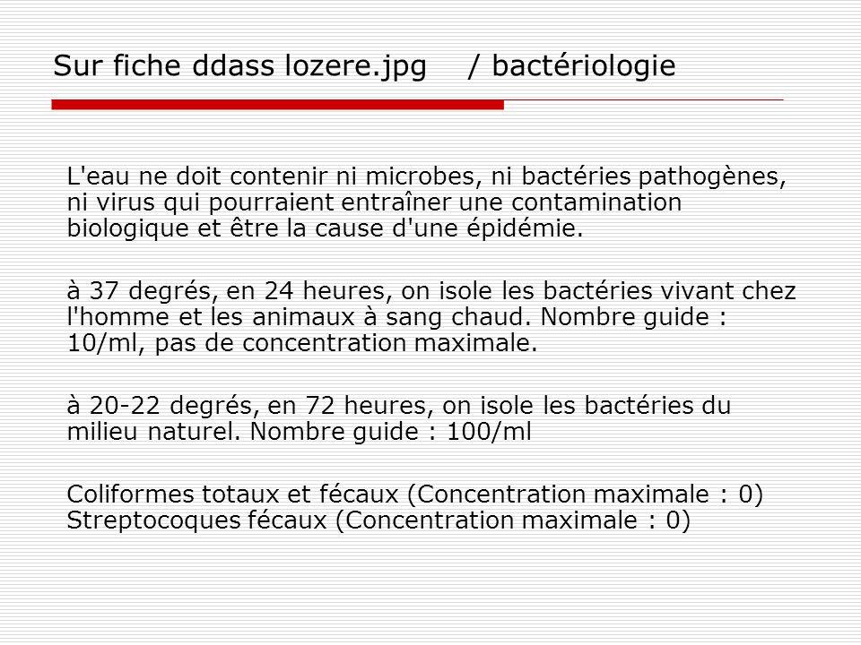 Sur fiche ddass lozere.jpg / bactériologie L'eau ne doit contenir ni microbes, ni bactéries pathogènes, ni virus qui pourraient entraîner une contamin