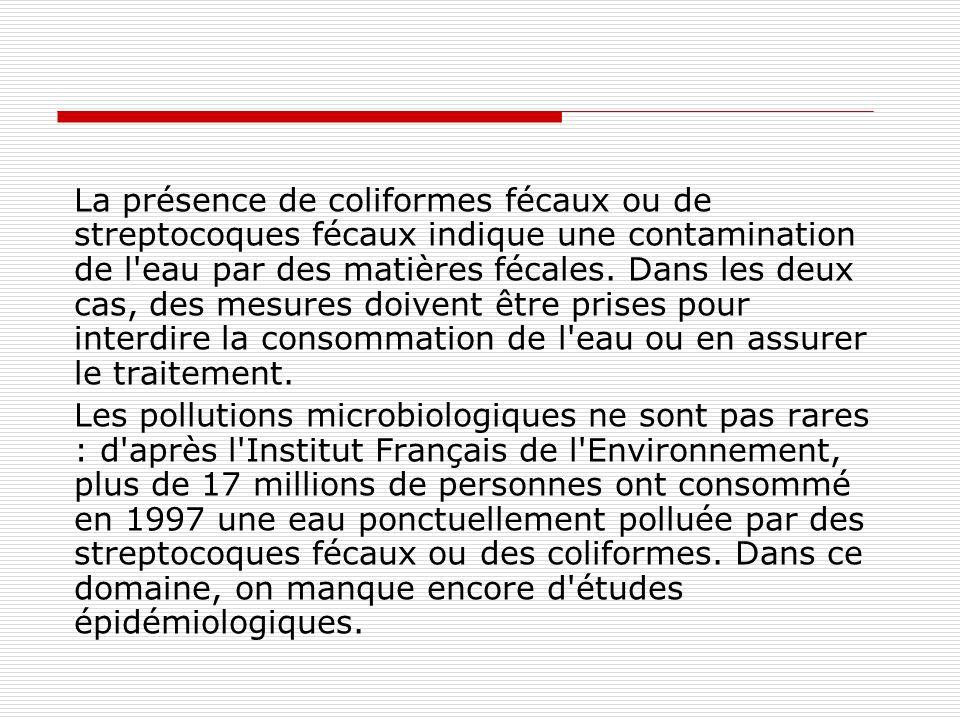 La présence de coliformes fécaux ou de streptocoques fécaux indique une contamination de l'eau par des matières fécales. Dans les deux cas, des mesure