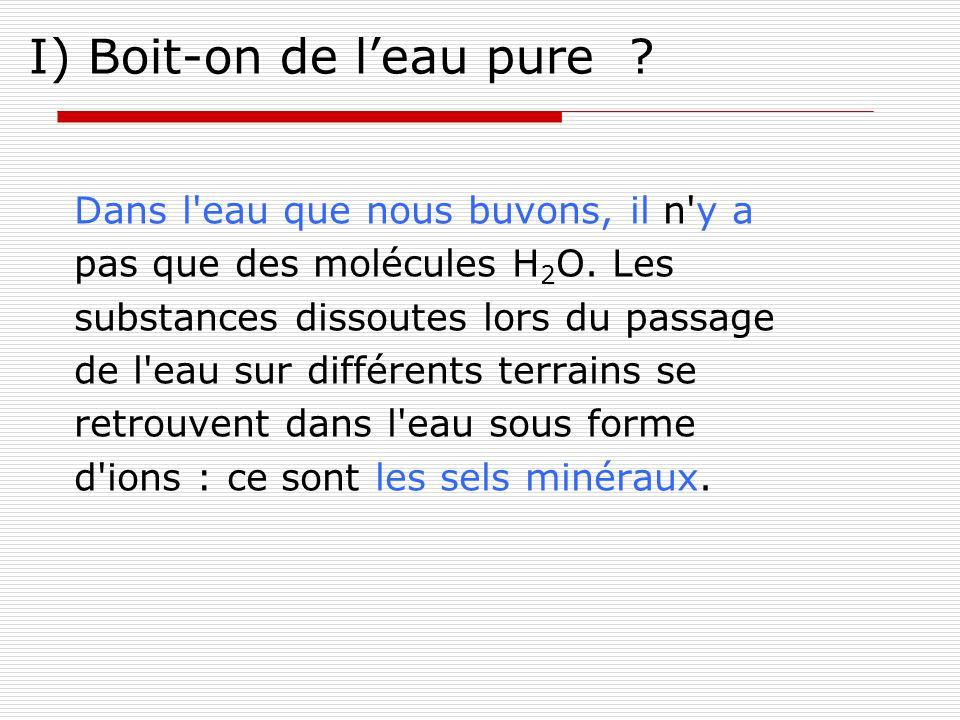 I) Boit-on de leau pure ? Dans l'eau que nous buvons, il n'y a pas que des molécules H 2 O. Les substances dissoutes lors du passage de l'eau sur diff