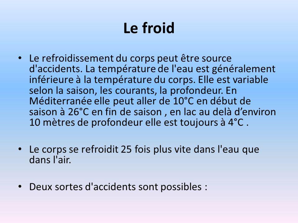 Le froid Le refroidissement du corps peut être source d'accidents. La température de l'eau est généralement inférieure à la température du corps. Elle