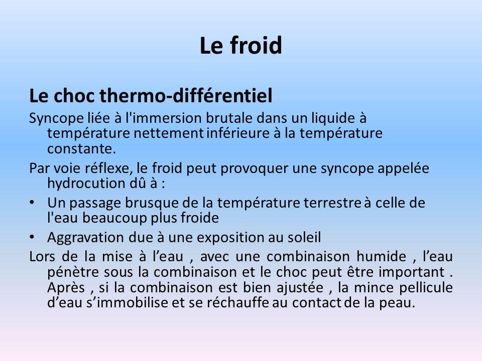 Le froid Le choc thermo-différentiel Syncope liée à l'immersion brutale dans un liquide à température nettement inférieure à la température constante.