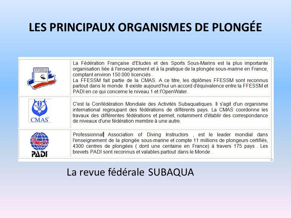 LES PRINCIPAUX ORGANISMES DE PLONGÉE La revue fédérale SUBAQUA