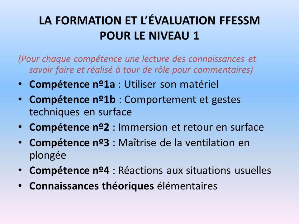 LA FORMATION ET LÉVALUATION FFESSM POUR LE NIVEAU 1 (Pour chaque compétence une lecture des connaissances et savoir faire et réalisé à tour de rôle po