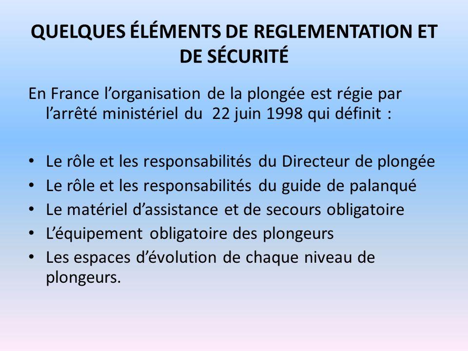 QUELQUES ÉLÉMENTS DE REGLEMENTATION ET DE SÉCURITÉ En France lorganisation de la plongée est régie par larrêté ministériel du 22 juin 1998 qui définit