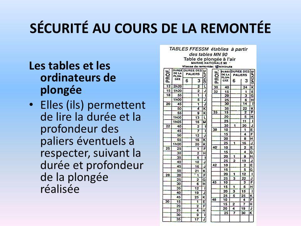 SÉCURITÉ AU COURS DE LA REMONTÉE Les tables et les ordinateurs de plongée Elles (ils) permettent de lire la durée et la profondeur des paliers éventue