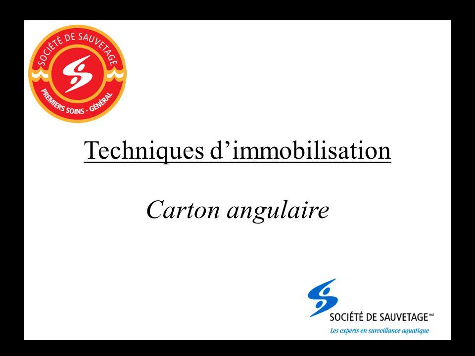 Techniques dimmobilisation Carton angulaire