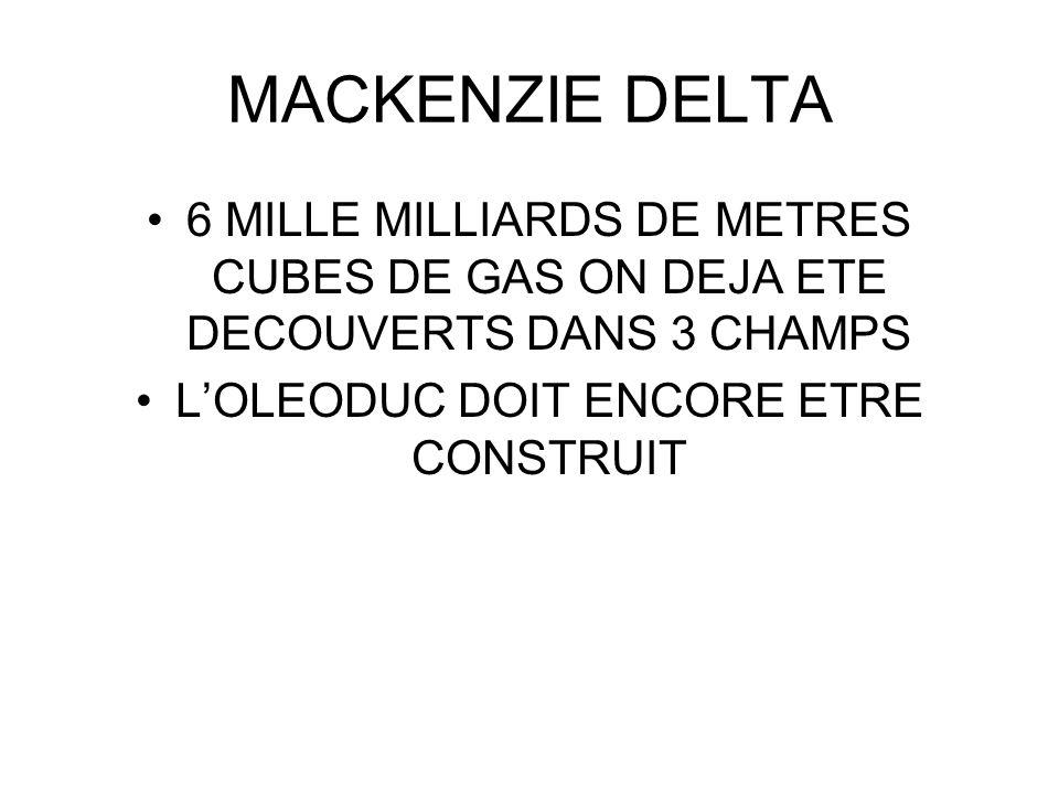 MACKENZIE DELTA 6 MILLE MILLIARDS DE METRES CUBES DE GAS ON DEJA ETE DECOUVERTS DANS 3 CHAMPS LOLEODUC DOIT ENCORE ETRE CONSTRUIT