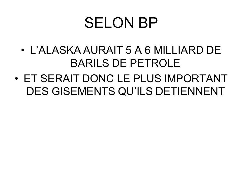 SELON BP LALASKA AURAIT 5 A 6 MILLIARD DE BARILS DE PETROLE ET SERAIT DONC LE PLUS IMPORTANT DES GISEMENTS QUILS DETIENNENT