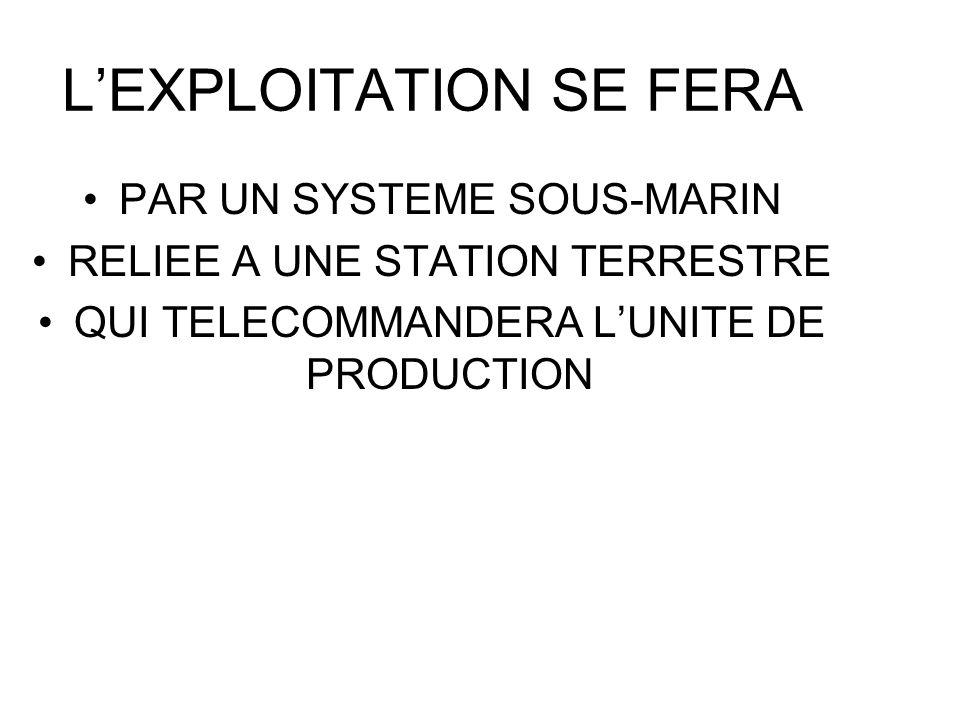 LEXPLOITATION SE FERA PAR UN SYSTEME SOUS-MARIN RELIEE A UNE STATION TERRESTRE QUI TELECOMMANDERA LUNITE DE PRODUCTION