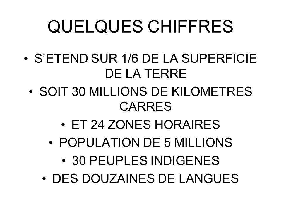 QUELQUES CHIFFRES SETEND SUR 1/6 DE LA SUPERFICIE DE LA TERRE SOIT 30 MILLIONS DE KILOMETRES CARRES ET 24 ZONES HORAIRES POPULATION DE 5 MILLIONS 30 P