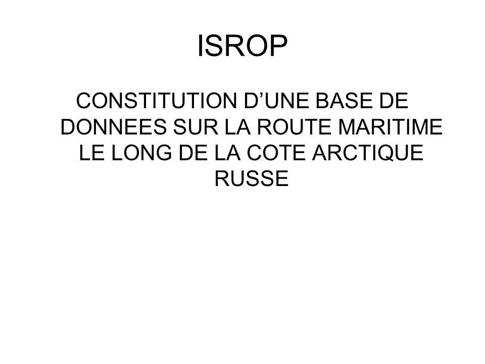 ISROP CONSTITUTION DUNE BASE DE DONNEES SUR LA ROUTE MARITIME LE LONG DE LA COTE ARCTIQUE RUSSE