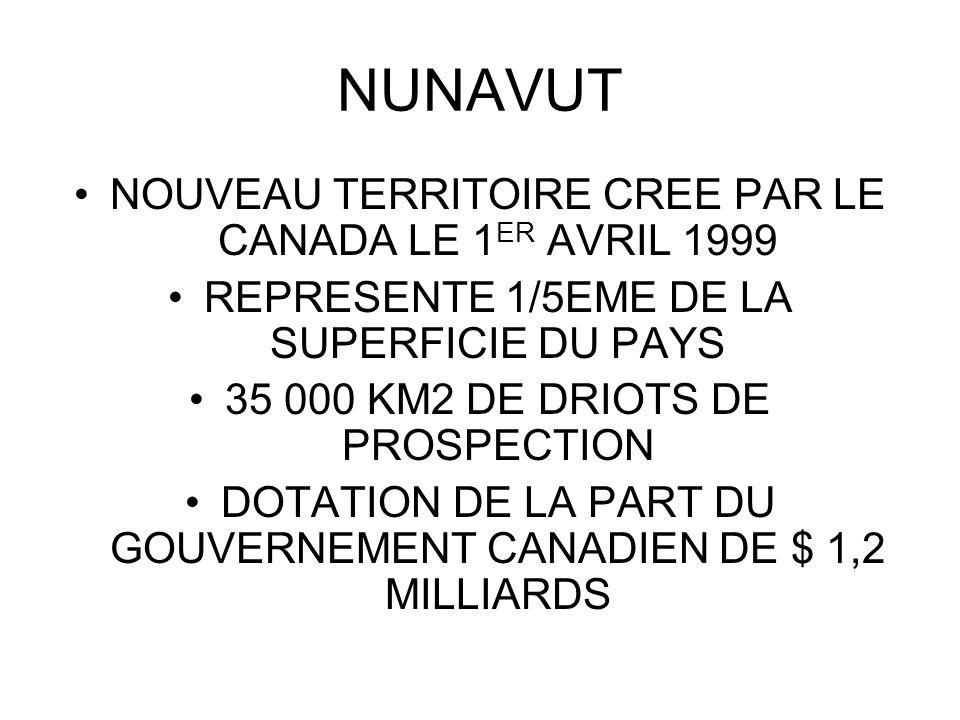 NOUVEAU TERRITOIRE CREE PAR LE CANADA LE 1 ER AVRIL 1999 REPRESENTE 1/5EME DE LA SUPERFICIE DU PAYS 35 000 KM2 DE DRIOTS DE PROSPECTION DOTATION DE LA