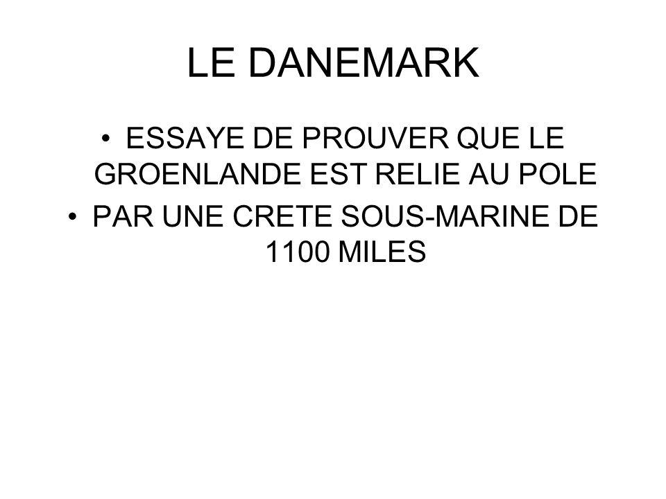 LE DANEMARK ESSAYE DE PROUVER QUE LE GROENLANDE EST RELIE AU POLE PAR UNE CRETE SOUS-MARINE DE 1100 MILES