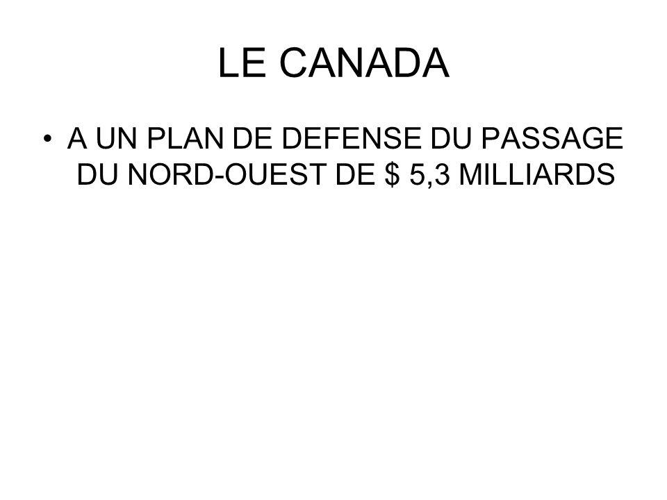 LE CANADA A UN PLAN DE DEFENSE DU PASSAGE DU NORD-OUEST DE $ 5,3 MILLIARDS