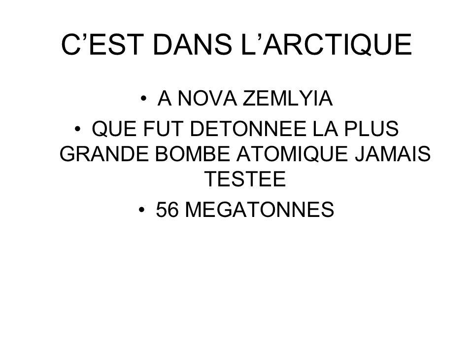 CEST DANS LARCTIQUE A NOVA ZEMLYIA QUE FUT DETONNEE LA PLUS GRANDE BOMBE ATOMIQUE JAMAIS TESTEE 56 MEGATONNES