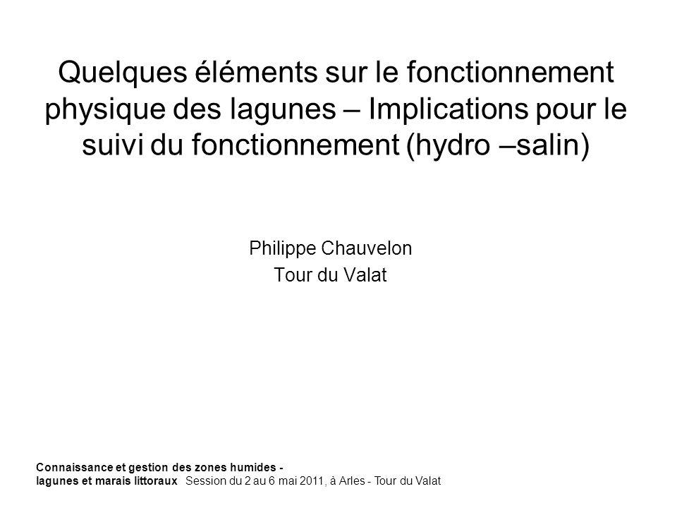 Quelques éléments sur le fonctionnement physique des lagunes – Implications pour le suivi du fonctionnement (hydro –salin) Philippe Chauvelon Tour du