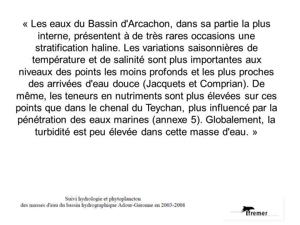 « Les eaux du Bassin d'Arcachon, dans sa partie la plus interne, présentent à de très rares occasions une stratification haline. Les variations saison