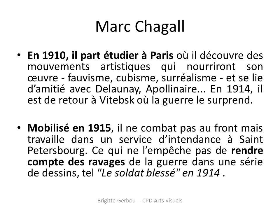 Marc Chagall En 1910, il part étudier à Paris où il découvre des mouvements artistiques qui nourriront son œuvre - fauvisme, cubisme, surréalisme - et se lie damitié avec Delaunay, Apollinaire...
