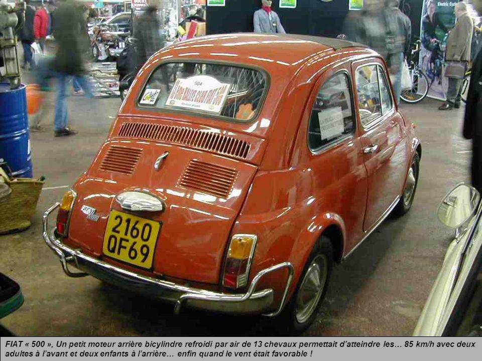 FIAT « 500 », la petite grande auto italienne, surnommée en France le « Pot de yaourt », produite de 1957 à 1975. Un fort pouvoir de sympathie se déga