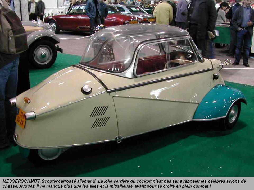 MESSERSCHMITT, Scooter carrossé allemand, donc sans permis, pour deux personnes assises en tandem, lancé après la guerre pour résoudre le problème des