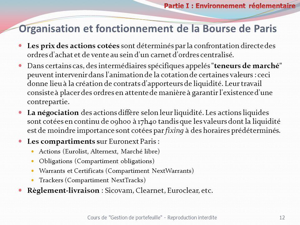 Organisation et fonctionnement de la Bourse de Paris Les prix des actions cotées sont déterminés par la confrontation directe des ordres d'achat et de