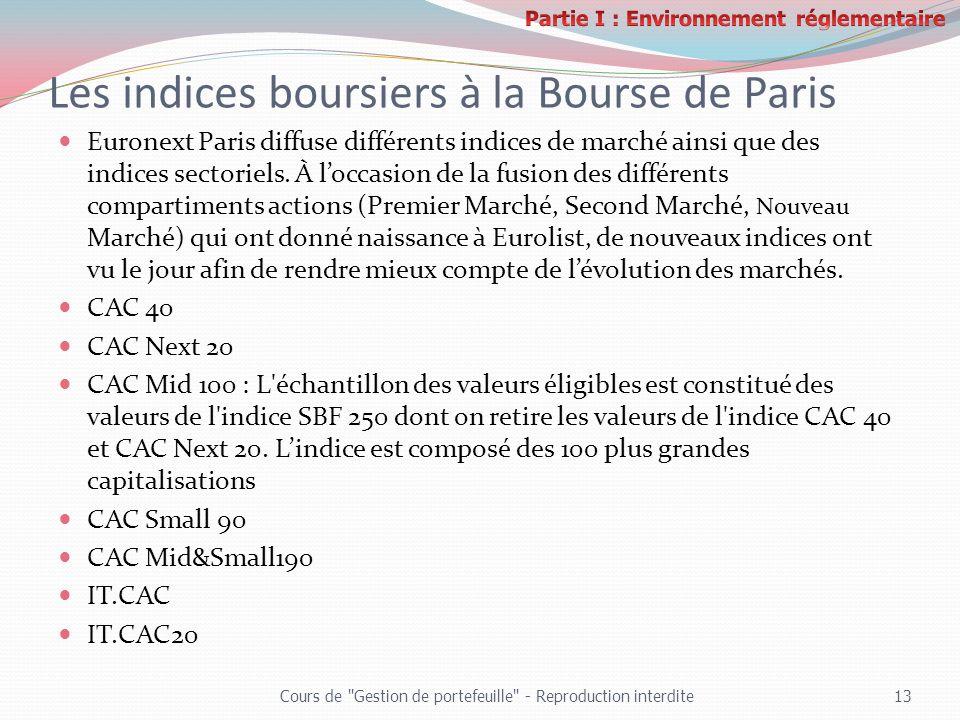 Les indices boursiers à la Bourse de Paris Euronext Paris diffuse différents indices de marché ainsi que des indices sectoriels. À loccasion de la fus