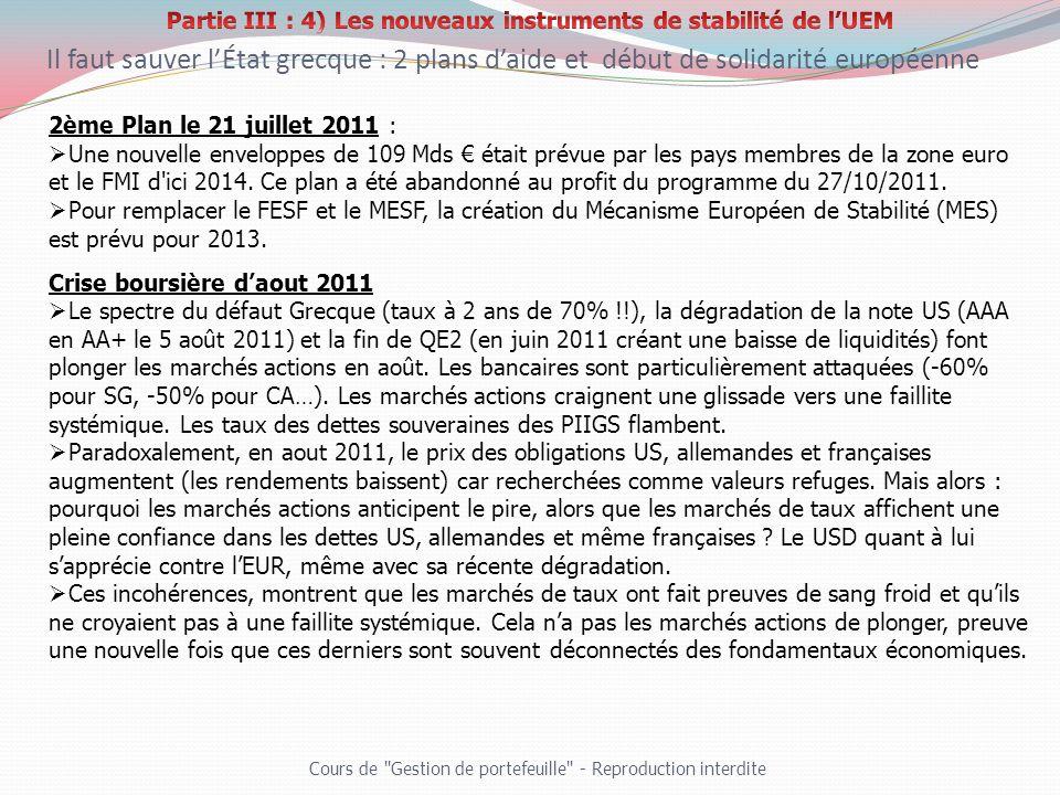 2ème Plan le 21 juillet 2011 : Une nouvelle enveloppes de 109 Mds était prévue par les pays membres de la zone euro et le FMI d'ici 2014. Ce plan a ét