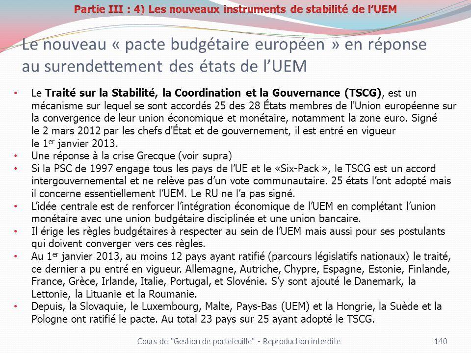 Le nouveau « pacte budgétaire européen » en réponse au surendettement des états de lUEM Cours de