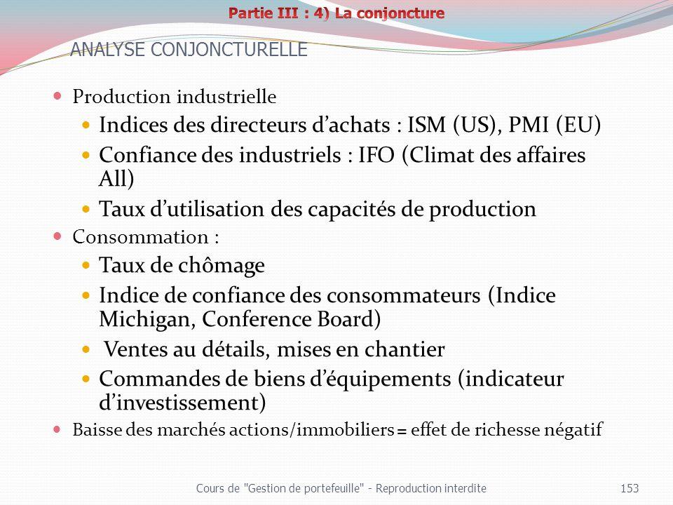 Production industrielle Indices des directeurs dachats : ISM (US), PMI (EU) Confiance des industriels : IFO (Climat des affaires All) Taux dutilisatio