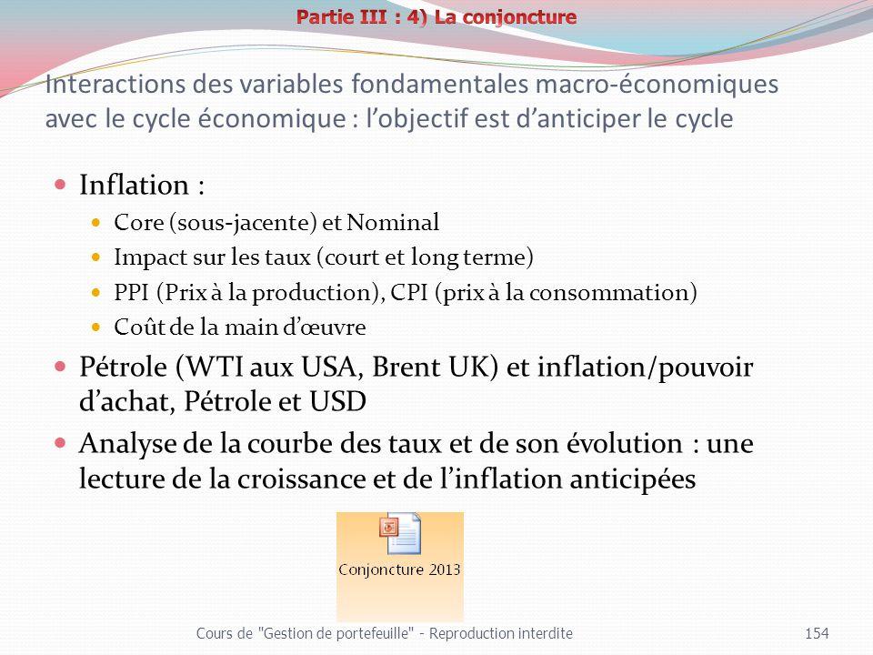 Interactions des variables fondamentales macro-économiques avec le cycle économique : lobjectif est danticiper le cycle Inflation : Core (sous-jacente