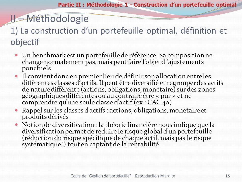II – Méthodologie 1) La construction dun portefeuille optimal, définition et objectif Un benchmark est un portefeuille de référence. Sa composition ne
