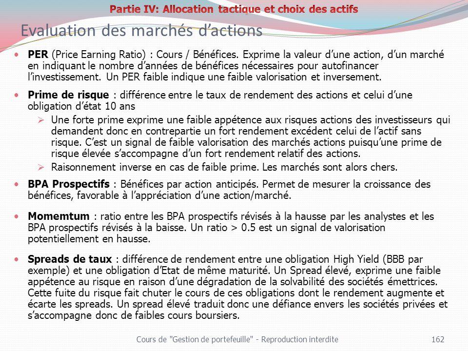 Evaluation des marchés dactions Cours de
